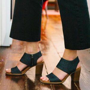 Toms   Majorca Black Denim Cutout Sandals.